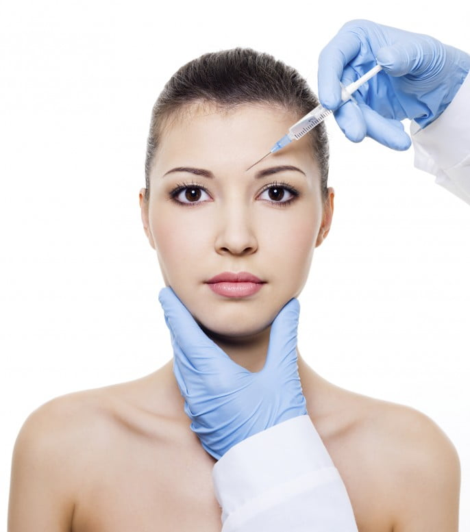 Botox injection female face