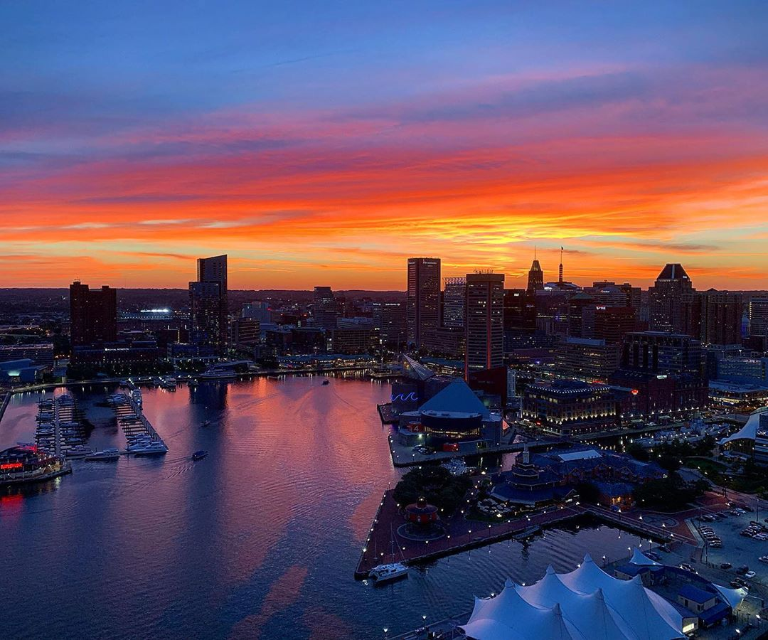Beautiful view of the Inner Harbor of Baltimore